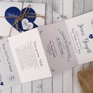 Personalised Wedding Invitations With Twine, Tag U0026 Envelopes *Handmade Any  Colour Heart Accordion Fold
