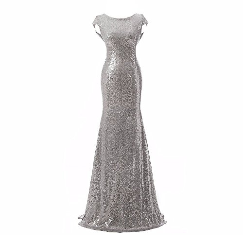 Aiyana Silver Mermaid V-Neck Backless Long Bridesmaid Dresses Sequins Wedding Party Gown
