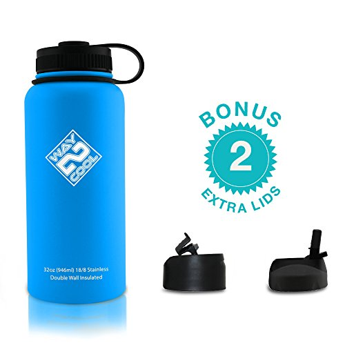 Way 2 Cool - Stainless Steel Water Bottle, Wide Mouth, 32oz. - PLUS 3 LIDS