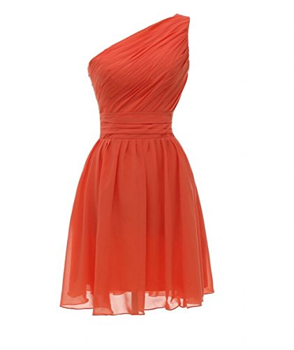 Shoulder Gowns Party Prom One Botong Dresses Orange Chiffon Bridesmaid Hwx7O