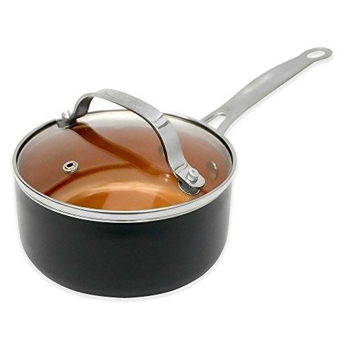 Gotham Steel Ti-Cerama 2 Qt. Nonstick Saucepan with Tempered Glass Lid, Ultra-Durable and Scratch Proof, Use on Electric and Gas Stoves As Seen on TV