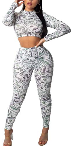 2 Piece Set Long Sleeve Money Print Sweatshirts and Long Pants Tracsuits