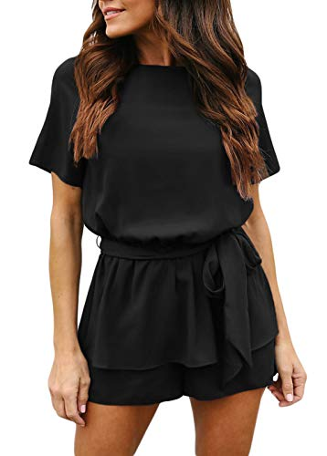 Womens Casual Short Sleeve Wide Leg Belted Overlay Keyhole Back Ruffle Hem Waist Tie Petite Jumpsuits Romper Small Black ()