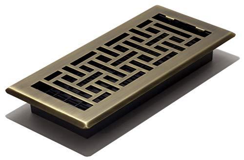 Brass Air Vents - Decor Grates AJH410-A Oriental Floor Register, Antique Brass, 4-Inch by 10-Inch