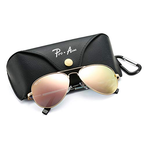 Pro Acme Polarized Aviator Sunglasses for Men and Women 100% UV Protection, 58mm (Gold Frame/Pink Mirrored ()