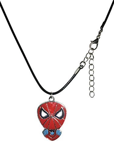 """Porter Gallery USA Spiderman Medallion Waxed Cord Necklace 16-18"""" Gift Boxed with Ornate Organza Gift Bag"""