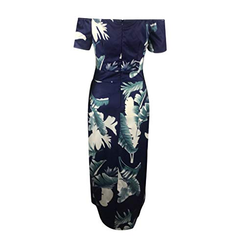 Para De Maxi Con Redondo Verano Vestido Playa Smileq Boho Azul Larga Mujer Noche Cuello Manga 5XvwC7cacq