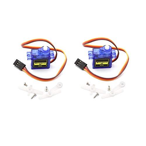 (DaFuRui 2Pcs SG90 Micro Servo Motor Mini 9G Compatible for Arduino RC Robot Helicopter Airplane Boat Controls)
