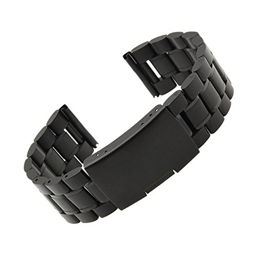 Gear S2 Classic SM-R732 Watch Band, Threeeggs Stainless Steel Watch Strap Bracelet for Samsung Galaxy Gear S2 Classic SM-R732 Smart Watch (B - Black)