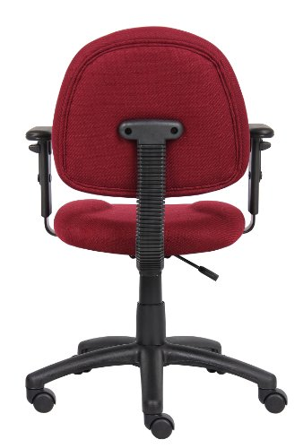Boss Office Products B316-BY Perfect Posture Delux Fabric Task Chair with Adjustable Arms in Burgundy