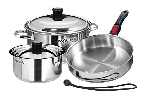 Magma Products, A10-362 7 Piece Gourmet Nesting Stainless Steel Cookware Set ()