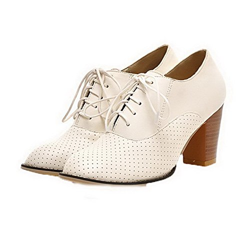 Closed Toe PU Lace Round up White Women's WeiPoot Heels Shoes Solid Pumps High TEqACH