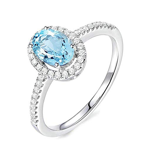 (Adisaer Eternity Wedding Band Ring 925 Sterling Silver Plated Ring LW 6X8Mm Oval Blue Topaz Ring Size N53)