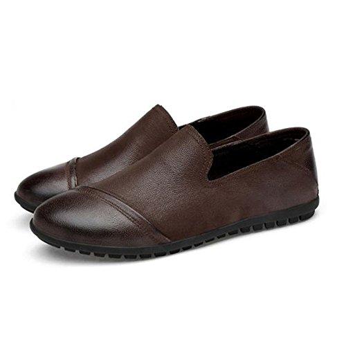 la Marrón Hombres Primera de Zapatos Casuales para Salvajes Cuero de Simples Capa de Zapatos Limpiar Eqx64Y6S
