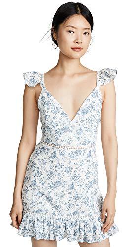 MINKPINK Women's Sky Rose Mini Dress, Sky Rose, Floral, Blue, Off White, Medium
