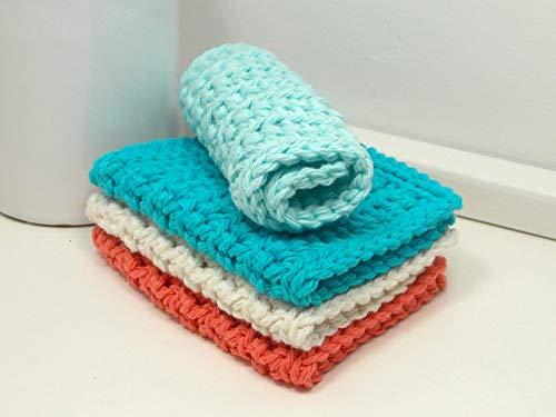 Coral & Aqua 4 in x 7 in Rectangular Cotton Dishcloths (Set of 4) Orange, Turquoise, Ecru, Aqua