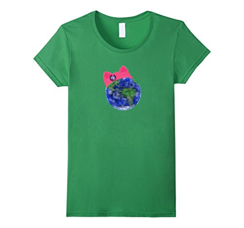 Women's Earth Wearing a Pink Pussy Cat Hat T Shirt  Large...