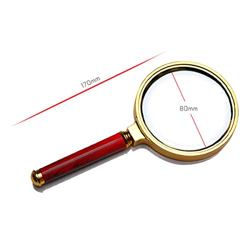 Tinksky Portable 80mm Diameter 3X Magnifying Glass Magnifier with Wooden Handle