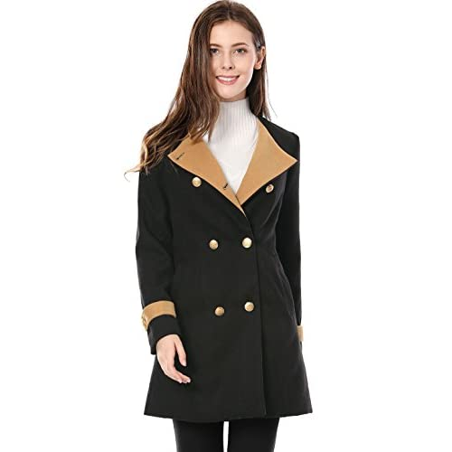 Wholesale Allegra K Women's Turn Down Collar Double Breasted Contrast Color Military Coat for sale