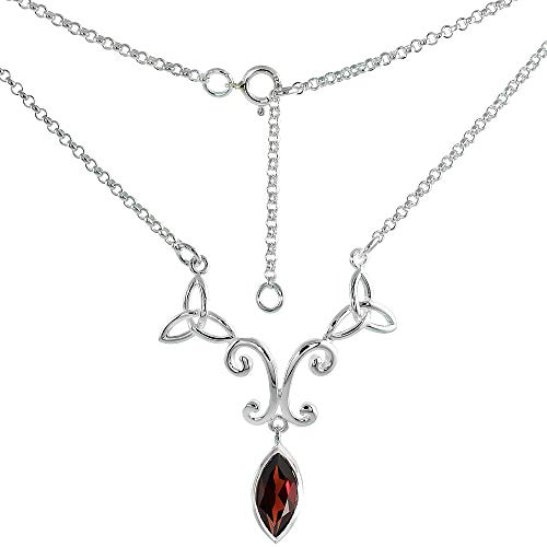 Sterling Silver Celtic Trinity Triquetra Knot Necklace with Genuine Garnet 16-17 inch Long
