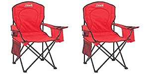 Coleman Oversized Quad Chair with Cooler Pouch, (RED)/ Pack of 2