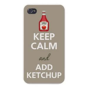 Apple Iphone Custom Case 5 5s Snap on - Keep Calm and Add Ketchup w/ Bottle