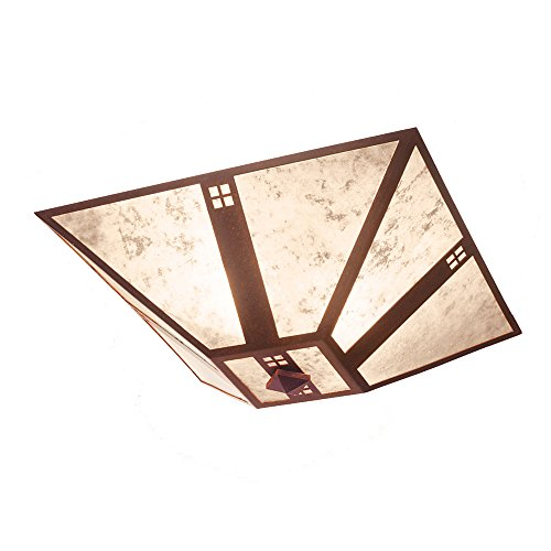 Bathroom Bronze Lighting Pasadena - Steel Partners Lighting 2561-AB Pasadena Drop Ceiling Mount with Amber Mica Lens, Architectural Bronze Finish