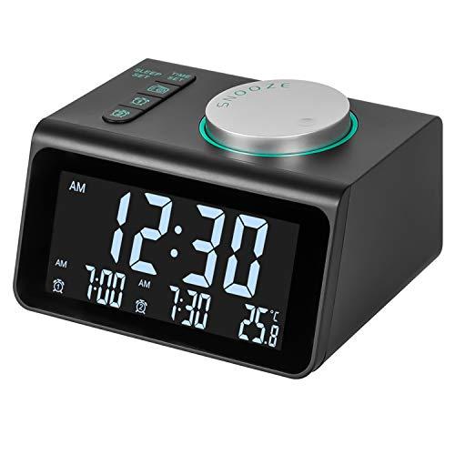 m zimoon wekkerradio, digitale wekkerradio FM-klok op het lichtnet met dubbele USB, temperatuurweergave, dubbele alarmen…