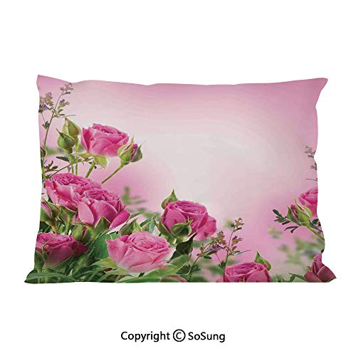 Flower Decor Bed Pillow Case/Shams Set of 2,Spring Time Roses with Leaves and Buds with Pink Ombre Atmosphere Image King Size Without Insert (2 Pack Pillowcase 36