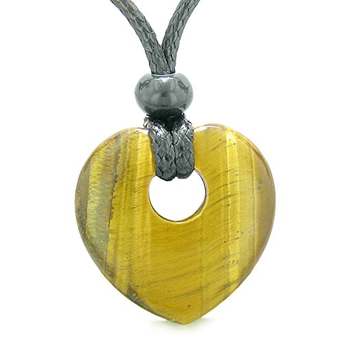 Amulet Lucky Heart Donut Shaped Charm Tiger Eye Gemstone Pendant Spiritual and Healing Powers Necklace -