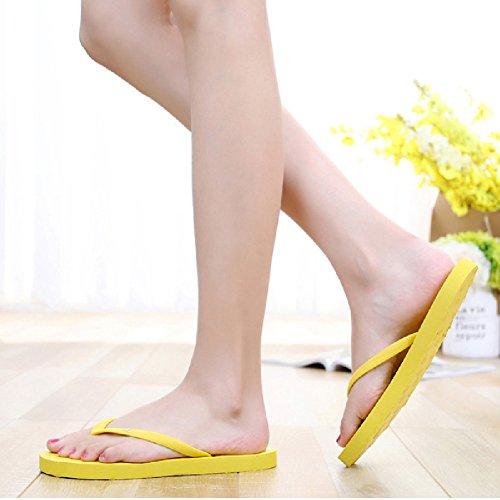 Btrada Womens Flip Flops Sandals Summer Beach Flats Anti-Slip Clip Toe Slides Yellow R6sRS1