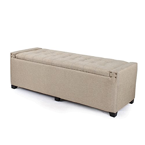 Joveco Natural Color Fabric Button Tufted Storage Ottoman Bench