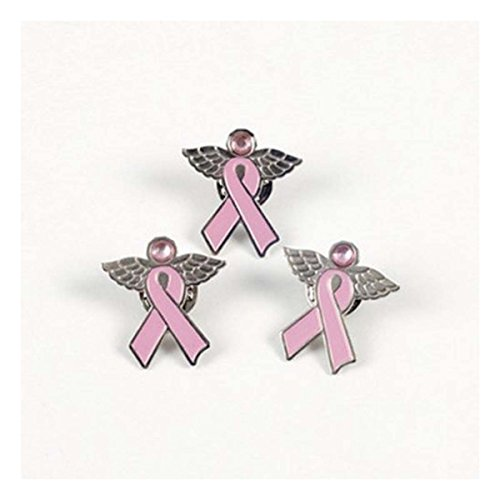 (12) Angel Pins with Wings ~ Pink Ribbon Breast Cancer Awareness Cure Charm Set - 1