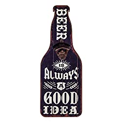 Home Bar and Man Cave Decor, Accessories, Supplies - Beer Is Always A Good Idea Wooden Sign and Bottle Opener – College Dorm Room Accessories - Beer Lover Gift for him, husband, dad,