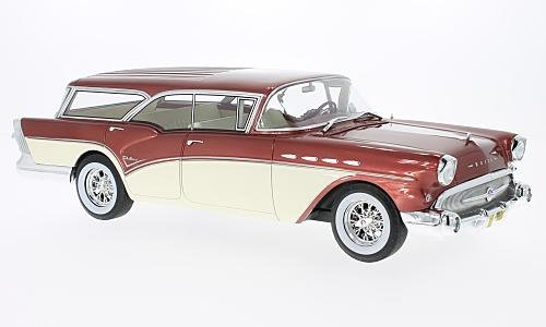 Buick Century Caballero Estate, metallic-red/light beige, 1957, Model Car, Ready-made, BoS-Models 1:18