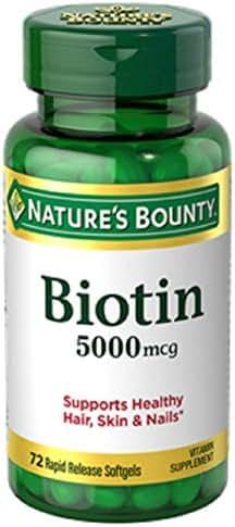 Nature's Bounty Super Potency Biotin 5000mcg, 72 Softgels (Pack of 4)