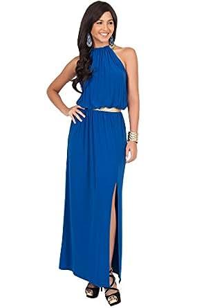 KOH KOH Womens Long Halter Neck Sleeveless Sexy Summer Slit Split Belt Wedding Guest Bridesmaid Grecian Sun Sundress Gown Gowns Maxi Dress Dresses For Women, Cobalt/Royal Blue M 8-10 (1)
