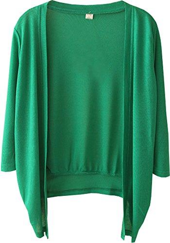 (ラクエスト) Laquest レディース カーディガン さらり 薄手 綿麻 UV 冷房対策 ボレロ 7分袖 無地 大きいサイズ