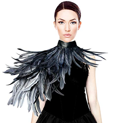 HOMELEX Gothic Real Black Feather Cape Shawl Shoulder Wings Choker Collar -
