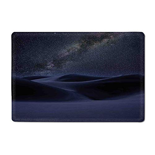 Space Yoga mat Desert Sand Dunes in Milky Way Stars at Dark Solar Celestial Reflection Over Earth Picture Kitchen mat Blue 16