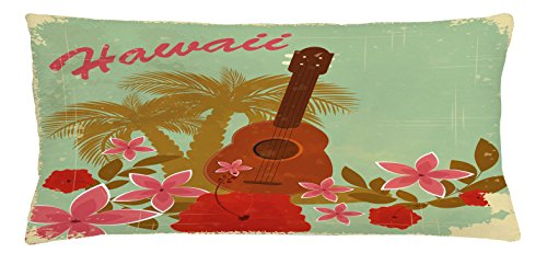Lunarable Vintage Hawaii Throw Pillow Cushion Cover, Soft Colored Poster Design Musical Instrument Hibiscus and Tropical Flowers, Decorative Square Accent Pillow Case, 36 X 16 inches, Multicolor by Lunarable
