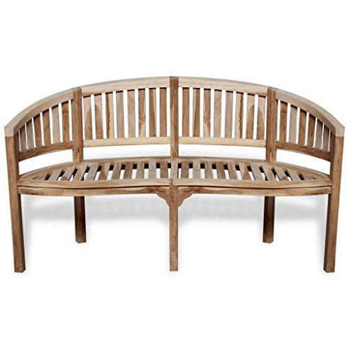 vidaXL Patio Garden Teak Curved Banana Wooden Bench Chair Seat Outdoor 3-Seater 3 Seat Teak Bench