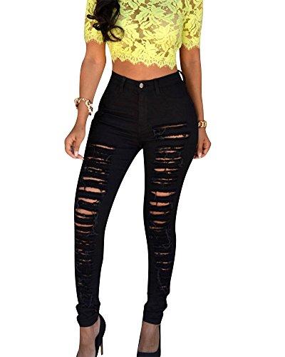 Push Negro Vaquero Alta Up Mujer Pantalones Cintura Jeans Elástico Rotos Skinny wqY41Tn
