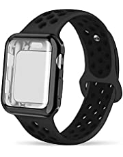 INTENY Compatible for Apple Watch Band 38mm 40mm 42mm 44mm with Case, Soft Silicone Sport Wristband with Apple Watch Screen Protector Compatible for iWatch Apple Watch Series 1, 2, 3, 4