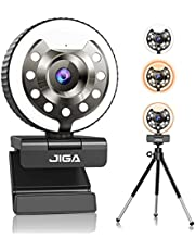 1080P Webcam with Microphone, USB Web Camera for Computer PC Built-in Adjustable Ring Light, JIGA HD Streaming Webcam with Retractable Tripod for Facebook YouTube Streamer [Warm/White/Natural Light]
