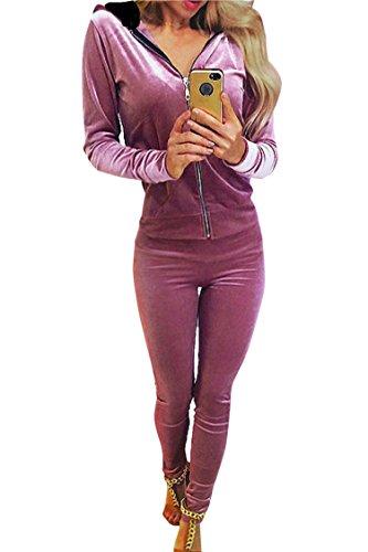 Linsery Women's Leisure Pleuche Full-Zip Jacket Skinny Pants Yoga Set (Women's Leisure Suits)