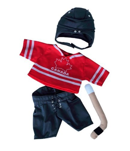 """Canada Hockey"" w/Helmet & Stick Outfit Teddy Bear Clothes Fits Most 14"" - 18"" Build-A-Bear, Vermont Teddy Bears, and Make Your Own Stuffed Animals Teddy Mountain 2511"