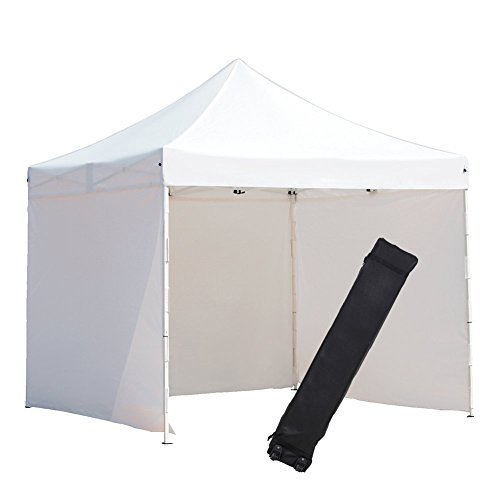 Abba Patio 10 x 10-Feet Outdoor Pop Up Portable Shade Instant Folding Canopy with 4 Sidewalls and Roller Bag, White by Abba Patio