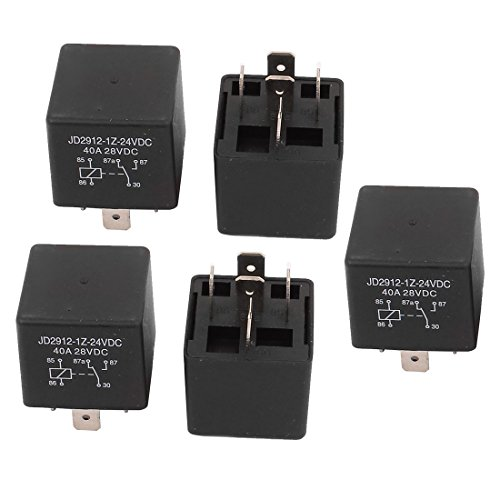 uxcell JD2912 DC 24V Coil 40A 5 Pins SPDT Vehicle Car Security Power Relay 5pcs