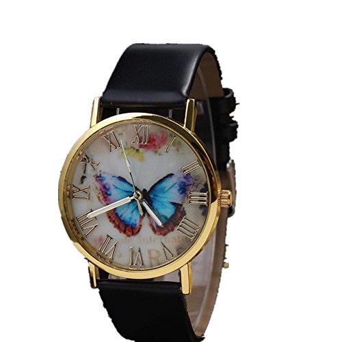 Womens Butterfly Style Leather Band Analog Quartz Wrist Watch Black - 9